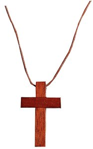 Pendant: Wooden Cross 4cm With Strap