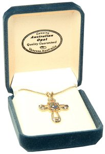 Pendant: Opal/Gold Cross, 22 Carat Gold Plated Stirling Silver
