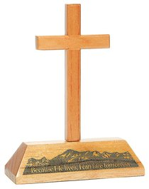 Cross on Stand: Because He Lives, I Can Have Tomorrow