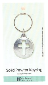 Keyring: Cut-Out Cross (Lead-free Pewter)