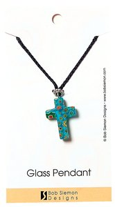 Murrine Glass Pendant: Blue Cross With Flowers Adjustable Braided Cotton Cord