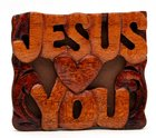 Magnet: Wood Jesus Loves You Novelty