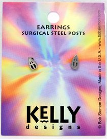 Earrings Kelly Design: Tear Drop With Cross (Lead-free Pewter)