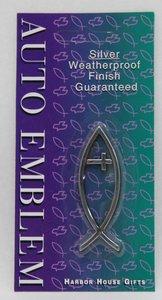 Auto Emblem Sticker: Silver Fish/Cross Small