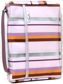 Bible Cover Pink Lavender Sassy Stripes - Medium
