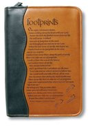 Bible Cover Footprints Duo-Tone Black/Tan Medium Bible Cover