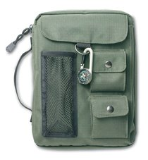 Bible Cover Green Canvas With 3 Pockets & Compass Large
