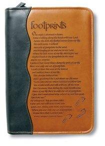 Bible Cover Footprints Duo-Tone Black/Tan Medium