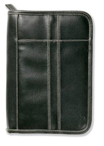 Bible Cover Distressed Leather-Look Black Medium