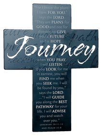 Large Metal Message Cross: Journey Various Scriptures, Black