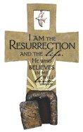 Resurrection Sculpture Cross John 11:25 (Polyresin)