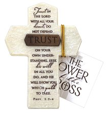 Tabletop Cross: Trust Proverbs 3:5-6 (Polyresin)