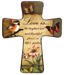 "Ceramic Cross Wall Plaque ""Love Is..."""