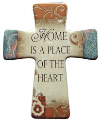 """Ceramic Cross Wall Plaque """"Home is a Place"""""""
