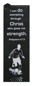 Bookmark: I Can Do Everything Through Christ Black & White Luxleather