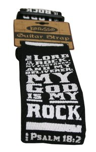 Guitar Strap Psalm Black With White Writing