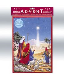 Advent Calendar: Shepherds At the Stable With Bible Text/Pictures/Envelope