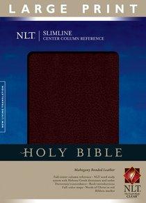 NLT Slimline Center Column Reference Large Print Mahogany (Red Letter Edition)
