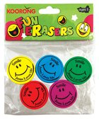 Eraser Pack: 5 Round Smiley Faces, Jesus Loves Me