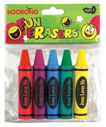 Eraser Pack:5 Crayon Erasers, Jesus Loves Me