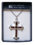 Pendant: Cross Fleur Red (Pewter) Jewellery