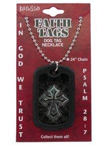 Faith Dog Tag Beveled Cross