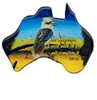 Christian Australia Map Shaped Resin Fridge Magnet: Kookaburra/Phil 1:6 Novelty