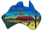 Christian Australia Map Shaped Resin Fridge Magnet: Uluru/ Ps 18:2 Novelty