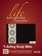 NIV Life Application Study Black/Ivory Floral Indexed Imitation Leather
