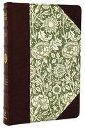 ESV Thinline Bible Green Antique Floral Design Imitation Leather