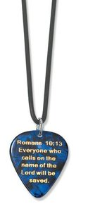 Guitar Pick Necklace on Black Rubber Cord: Pick Jesus Blue