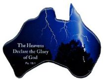 Christian Australia Map Shaped Resin Fridge Magnet: Lighting Blue/Gods Glory