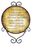 Ceramic Plate With Display Rack: For I Know the Plans, Jeremiah 29:11