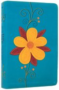 NLT Girls Life Application Study Bible Teal/Glittery Gold Blossom Imitation Leather