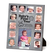 Photo Frame Collage Pewter: Babys First Year Psalm 127:3