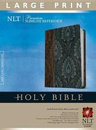 NLT Premium Slimline Reference Bible Large Print Dark Brown/Dusty Blue (Red Letter Edition) Imitation Leather