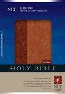 NLT Slimline Center Column Refernece Bible Brown/Tan (Red Letter Edition) Imitation Leather