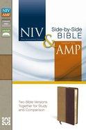 Niv/Amp Side-By-Side Bible Camel/Burgundy (Black Letter Edition) Premium Imitation Leather