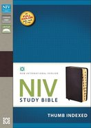 NIV Study Bible Regular Burgundy Thumb Indexed (Red Letter Edition) Bonded Leather