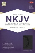 NKJV Large Print Ultrathin Reference Indexed Bible (Charcoal Leathertouch)