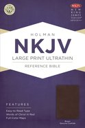 NKJV Large Print Ultrathin Reference Bible Brown Genuine Cowhide Genuine Leather
