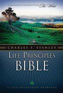 NASB Charles F. Stanley Life Principles Bible Navy Blue Thumb Indexed Bonded Leather