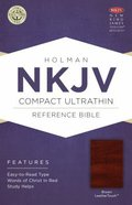 NKJV Compact Ultrathin Reference Bible Brown Leathertouch