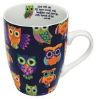 Ceramic Mug: Colourful Owls, Black Background (Job 8:21 - Inside Mug) Homeware