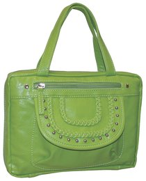 Bible Cover Fashion With Front Braided Pocket: Lime Large