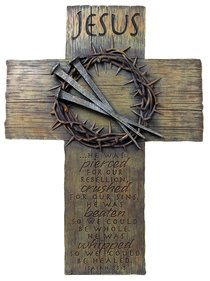 Cross Large: Jesus, Nails & Crown (Polyresin)