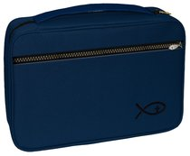 Bible Cover Deluxe With Fish Symbol: Navy Large