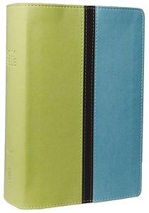 NIV Compact Giant Print Melon Green/Turquoise Italian Duo-Tone