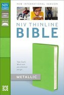 NIV Thinline Metallic Collection Bible Green (Red Letter Edition) Bonded Leather