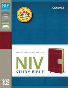 NIV Study Bible Compact Red/Tan Flexi Back